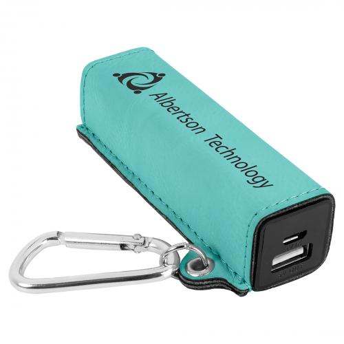 Teal Engraves Black Laserable Leatherette Power Bank with USB Cord