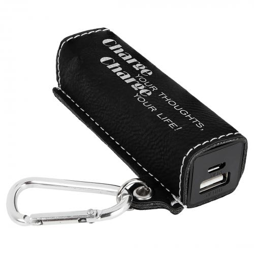 Black Engraves Silver Laserable Leatherette Power Bank with USB Cord