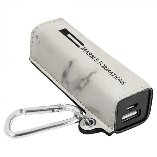 White Engraves Black Laserable Leatherette Power Bank with USB Cord