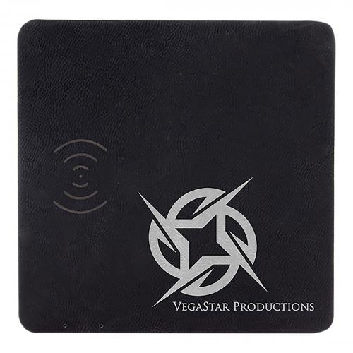 Black Engraves Silver Laserable Leatherette Charging Mat
