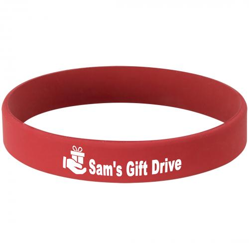 Red Engraves White Silicone Laserable Bracelet