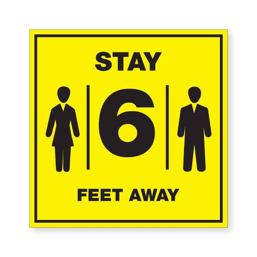 Black & Yellow Acrylic Stay 6FT Away Ready Made Sign