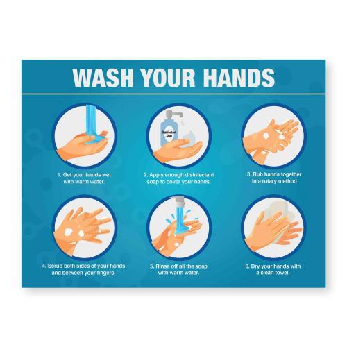 Blue Acrylic Hand Washing Steps Ready Made Sign