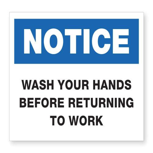 White Acrylic Wash Hands Before Returning To Work Plaque