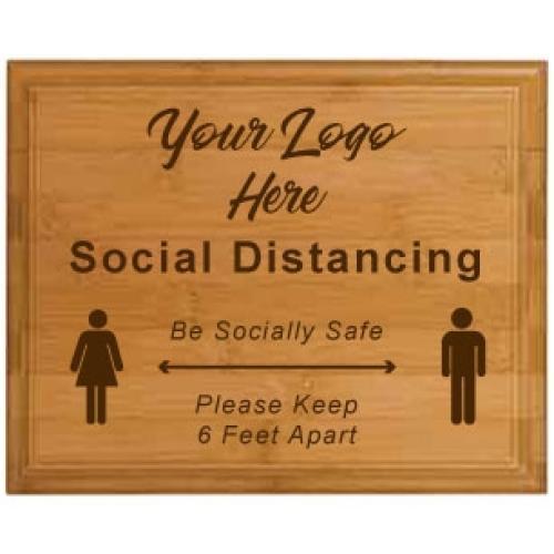Social Distancing Genuine Vertical Bamboo Plaque