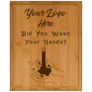 Wash Your Hands GenuineHorizontal Bamboo Plaque