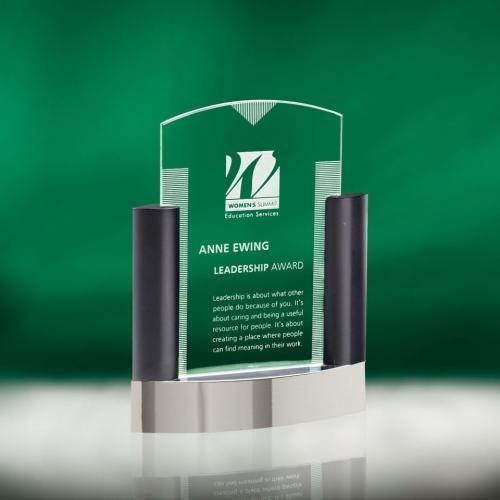 Neopolitan Jade Glass Award with Metal Columns