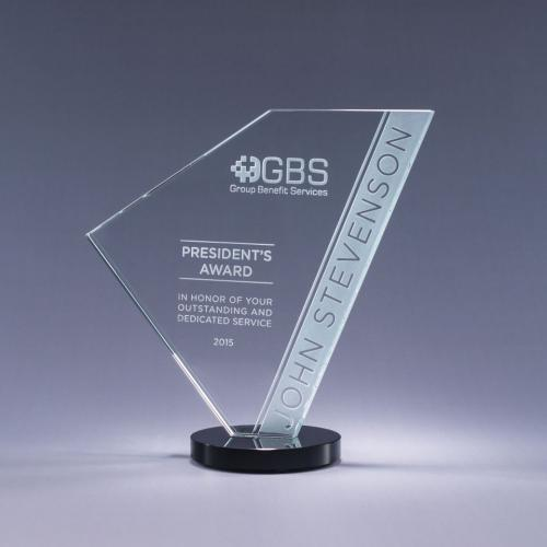 Clear Optical Crystal Navigate Geometric Award with Black Base