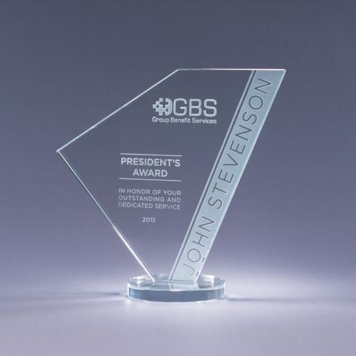 Clear Optical Crystal Navigate Geometric Award