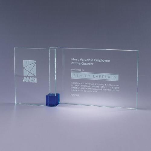 Blue Shadow Clear Optical Crystal Plaque with Blue Cube