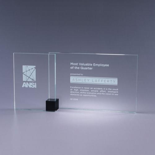 Black Shadow Clear Optical Crystal Plaque with Black Cube