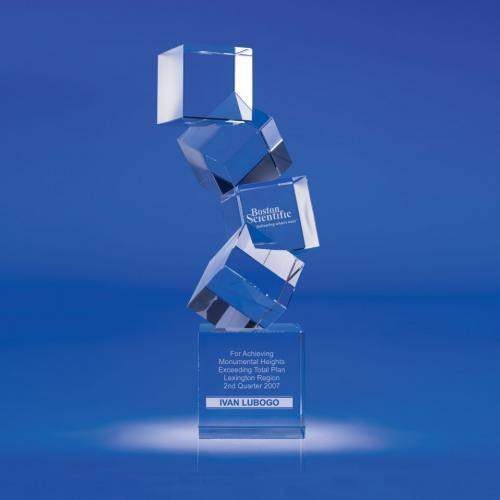 Arabesque Optical Crystal Cube Tower Award