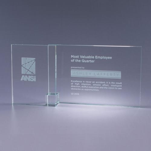 Clear Shadow Clear Optical Crystal Plaque with Clear Cube