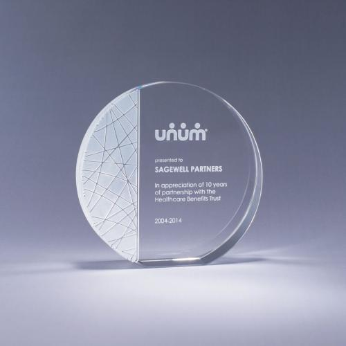 Generation Optical Crystal Circle Plaque Award
