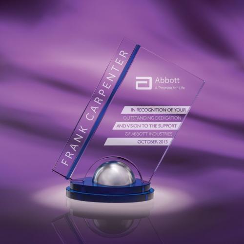 Clear & Blue Optical Crystal Spiro Award