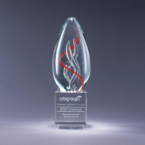 Spiro Art Glass Award on Clear Optical Crystal Base