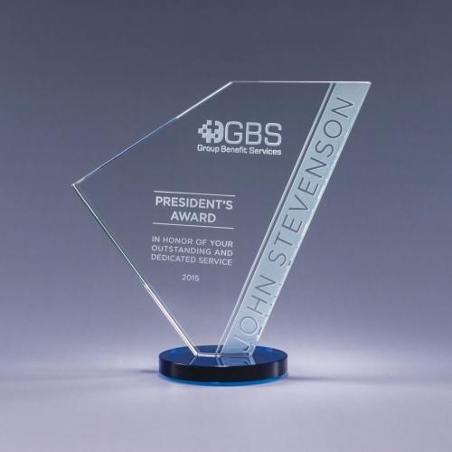 Clear Optical Crystal Navigate Geometric Award with Blue Base