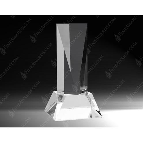 Clear Optical Crystal Goldwell Award with Base