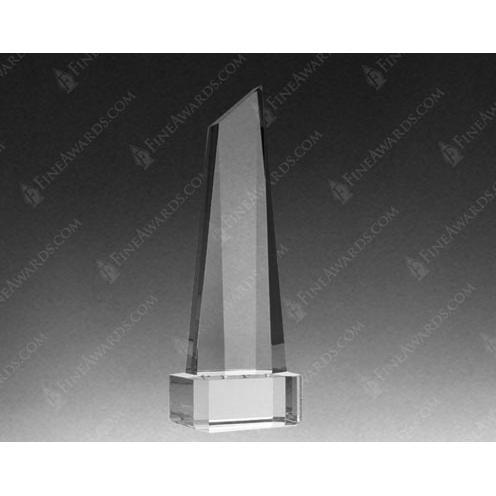 Clear Optical Crystal Polygon Obelisk Award