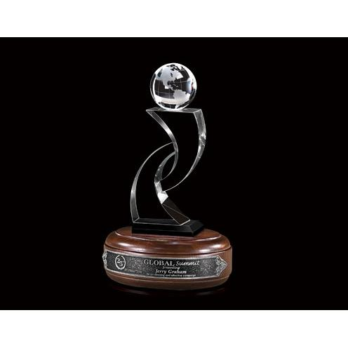 Optical Crystal Globe Tower Award on Walnut Base