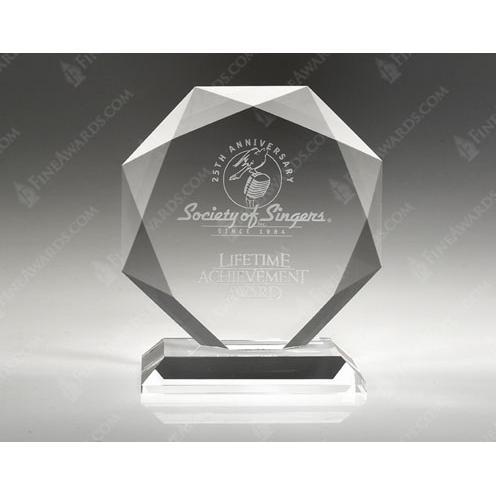 Clear Crystal Beveled Diamond Award