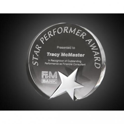 Clear Crystal Top Star Circle Award