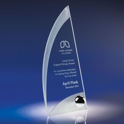 Ergo Jade Crystal Award with Chrome Accent