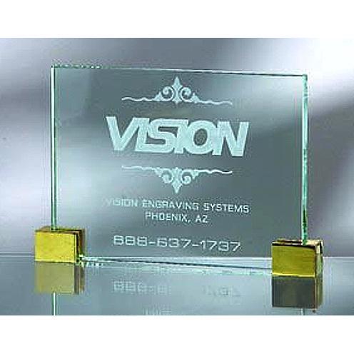 Green Jade Glass Horizontal Plaque with Brass Corners