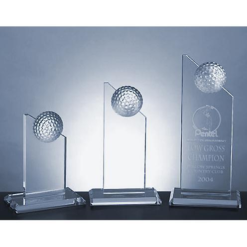 Clear Jade Glass Pinnacle Golf Award on Clear Crystal Base