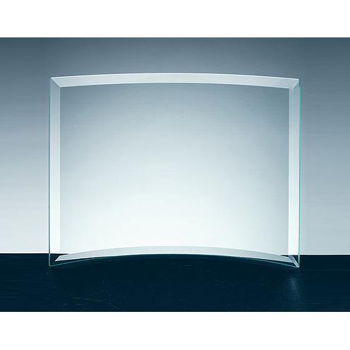 Clear Jade Glass Beveled Crescent Award