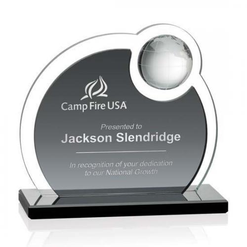 Clear & Grey Crystal Riccarda Globe Award on Black Aluminum Base