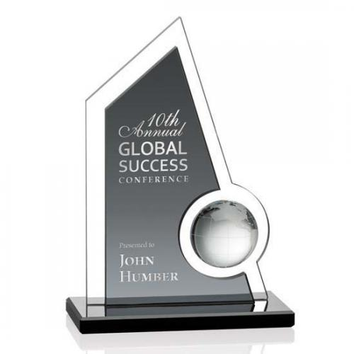 Clear & Black Crystal Adalina Globe Award