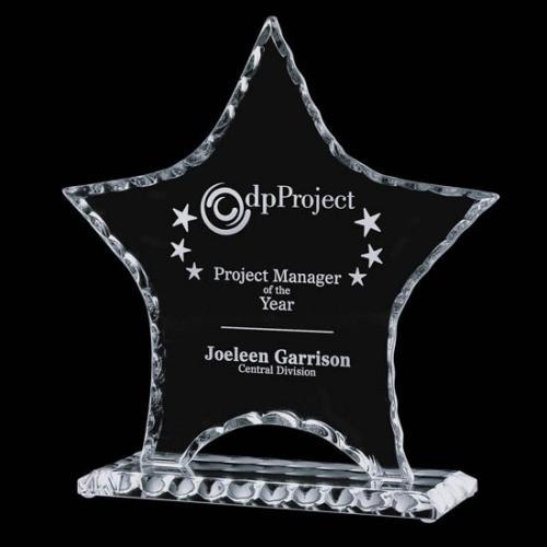 Clear Jade Glass Roebuck Star Award