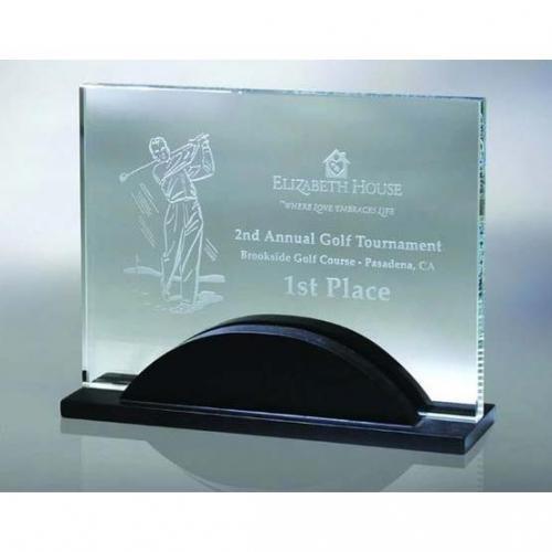 Artistic Green Glass Horizontal Award