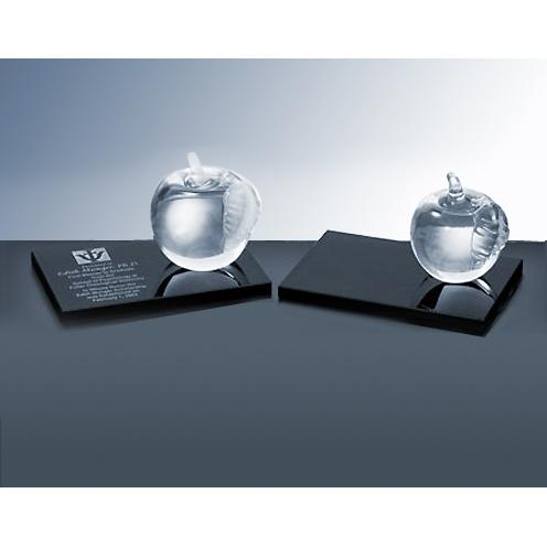 Clear Molten Glass Apple on Black Stand