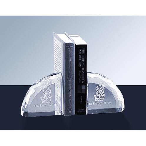 Faceted Optical Crystal Bookend Award