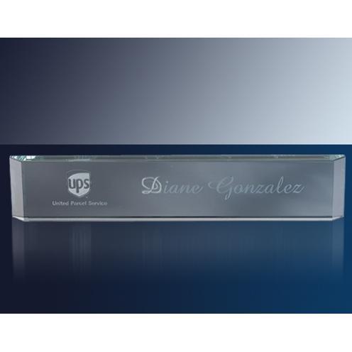 Clear Jade Glass Block Name Plate