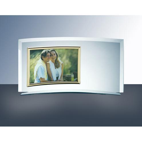 Clear Curved Glass Horizontal Photo Frame