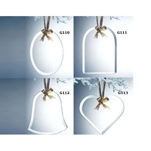 Clear Jade Glass Beveled Ornament