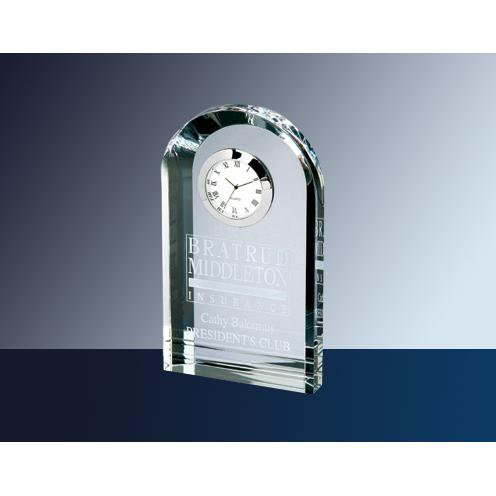 Clear Optical Crystal Royal Arch Clock with Silver Accent