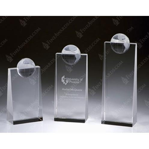 Clear Crystal Tower Plaque with Crystal Globe Award