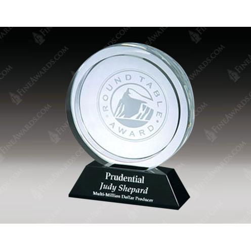 Crystal Winners Circle Award on Black Base
