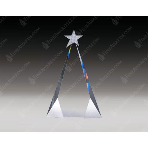 Crystal Triangle Award with Metal Star & Aluminum Accent