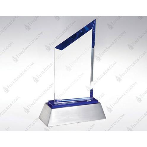 Blue Sail Clear Crystal Award with Blue Accent