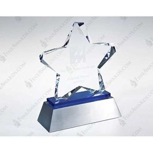 Blue Twinkle Crystal Star Award on Blue Glass