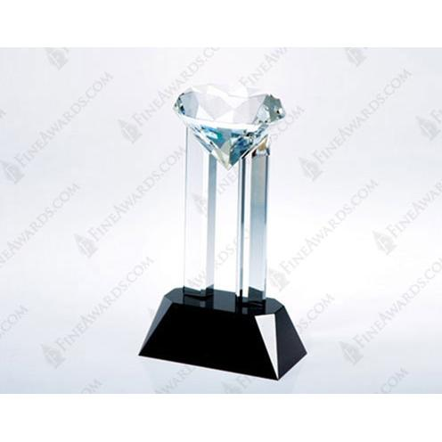 Crystal Venus Diamond Award with two Pillars on Black Base