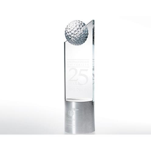 Golf Pinnacle Crystal Award with Cylinder Metal Base