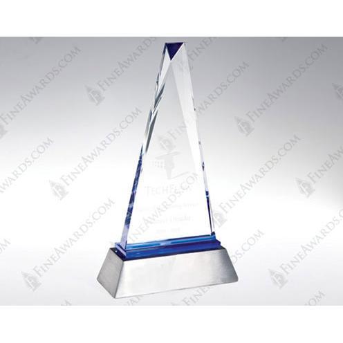 Blue Paramount Clear Optical Crystal Award with Blue Streaks