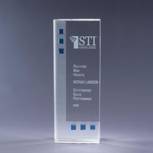 Dimensions In Blue Optical Crystal Tower Award