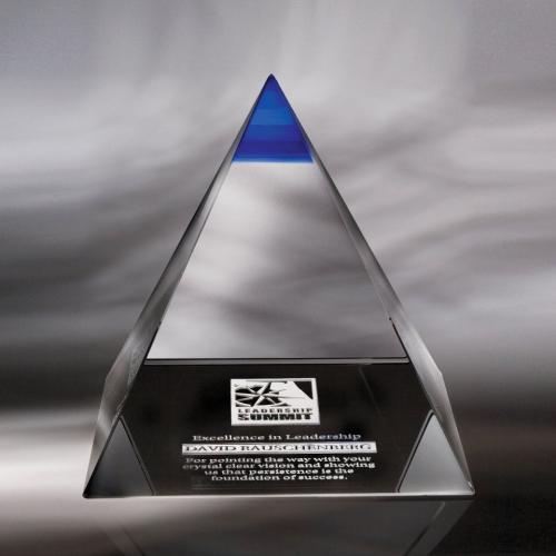 Blue Tip Majestic Optical Crystal Pyramid Award